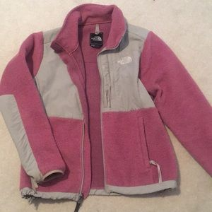 Pink north face jacket women's